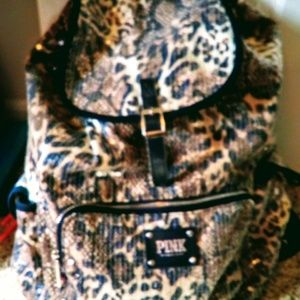 VICTORIAS SECRET PINK SEQUENCE CHEETAH BACKPACK